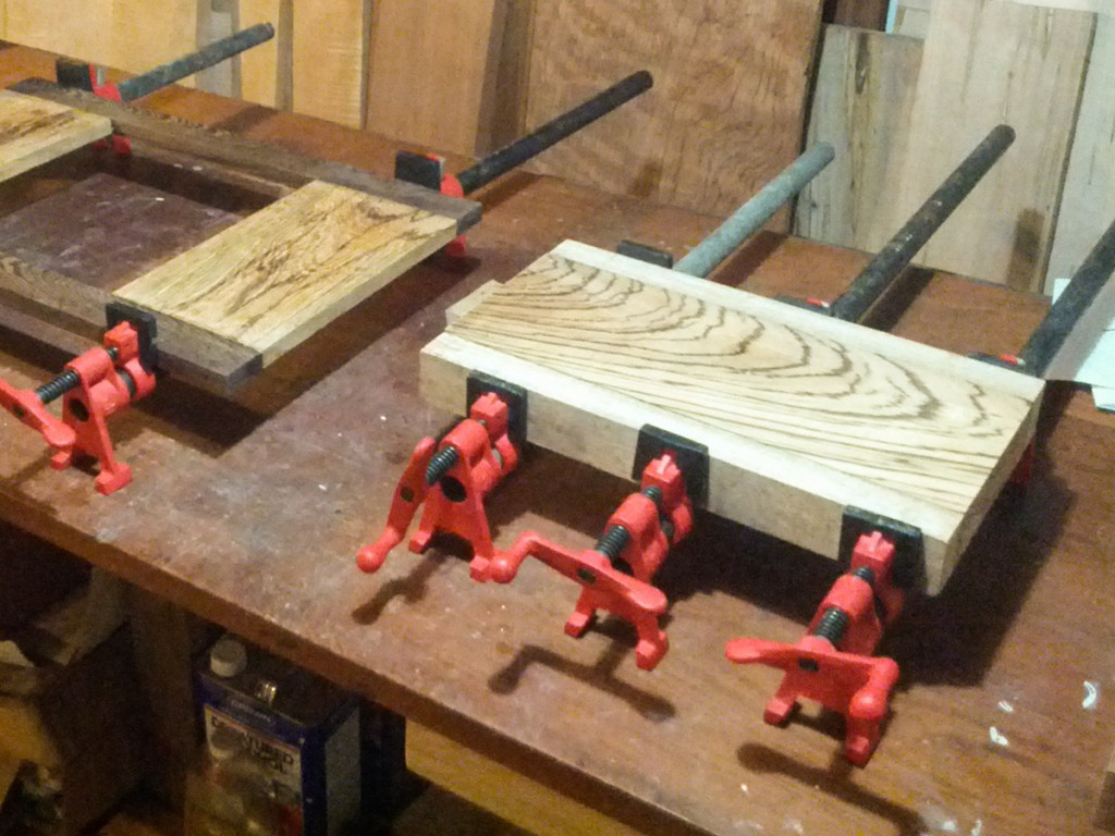 Gluing up and clamping a cutting board.