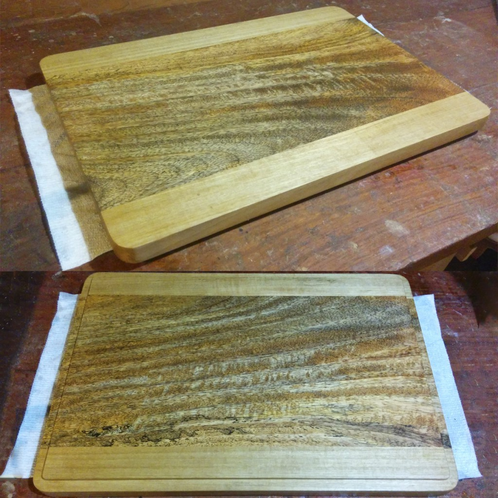 Mango/Aniegre board with rounded edges and rabbeted underside.