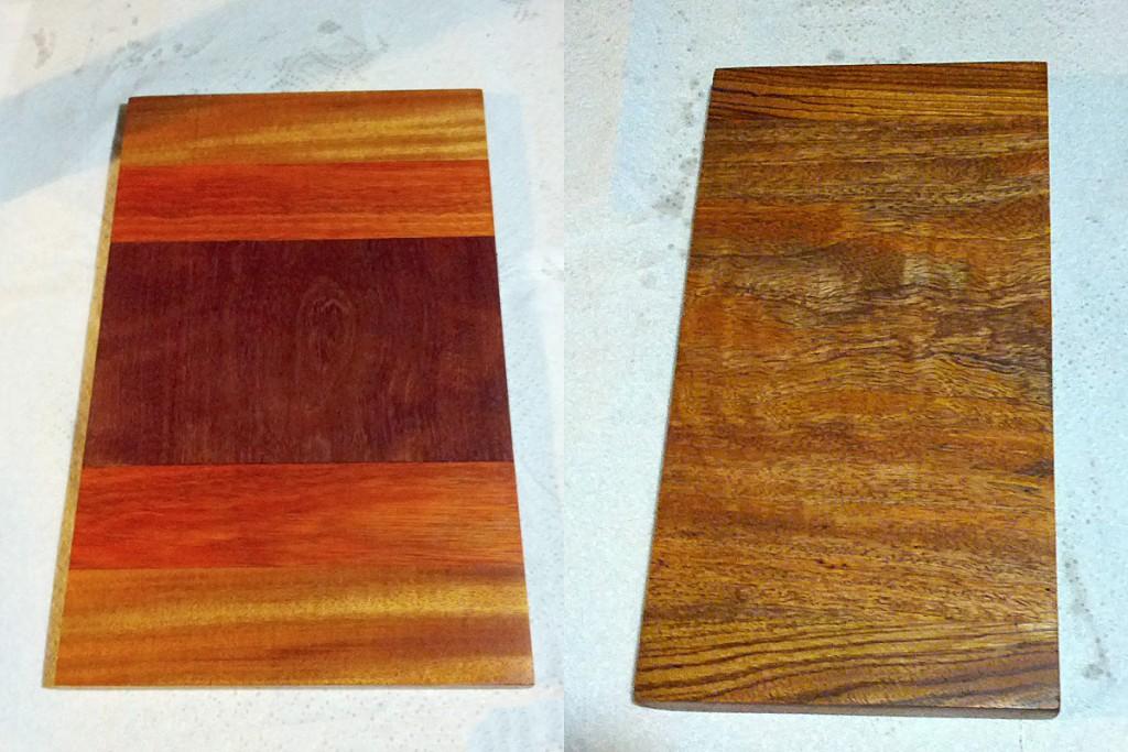 Left: Mahogany/Padauk/Purpleheart board, Right: Zebrawood/Mango board.