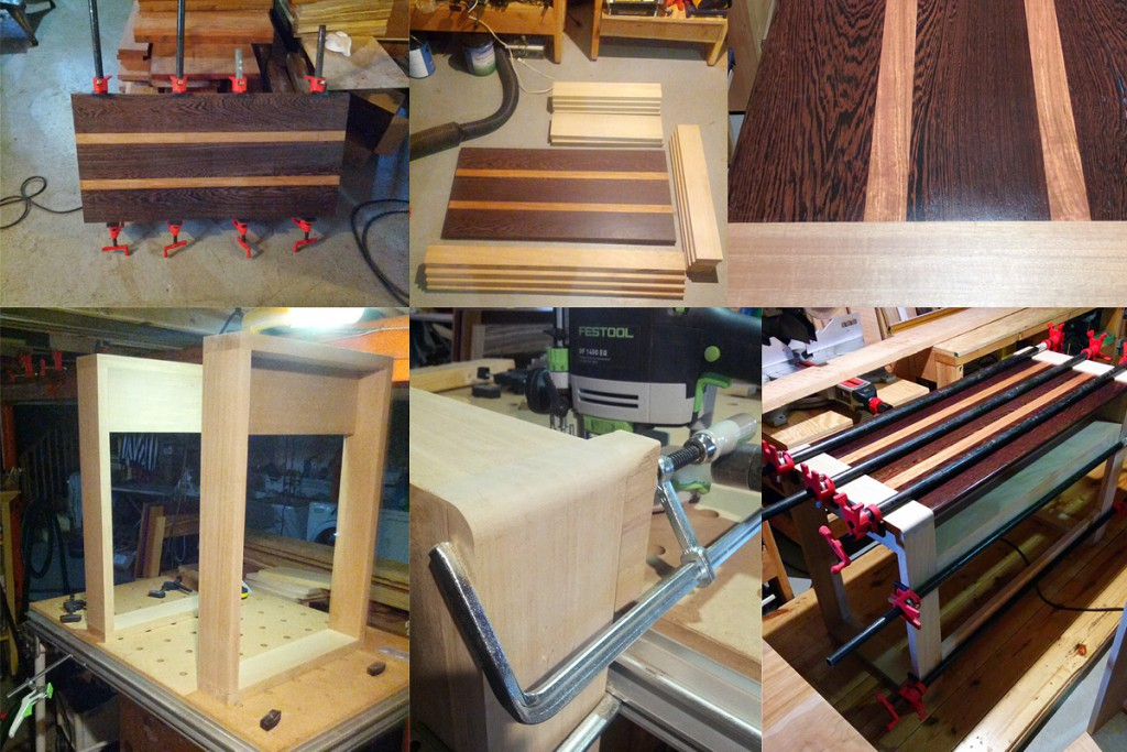Various stages in the desk build