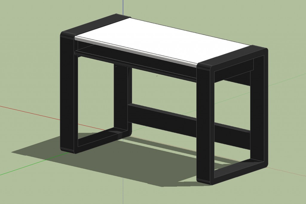 3D render of desk design