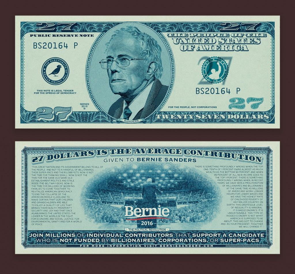 The Bernie Sanders 27 Dollar Bill