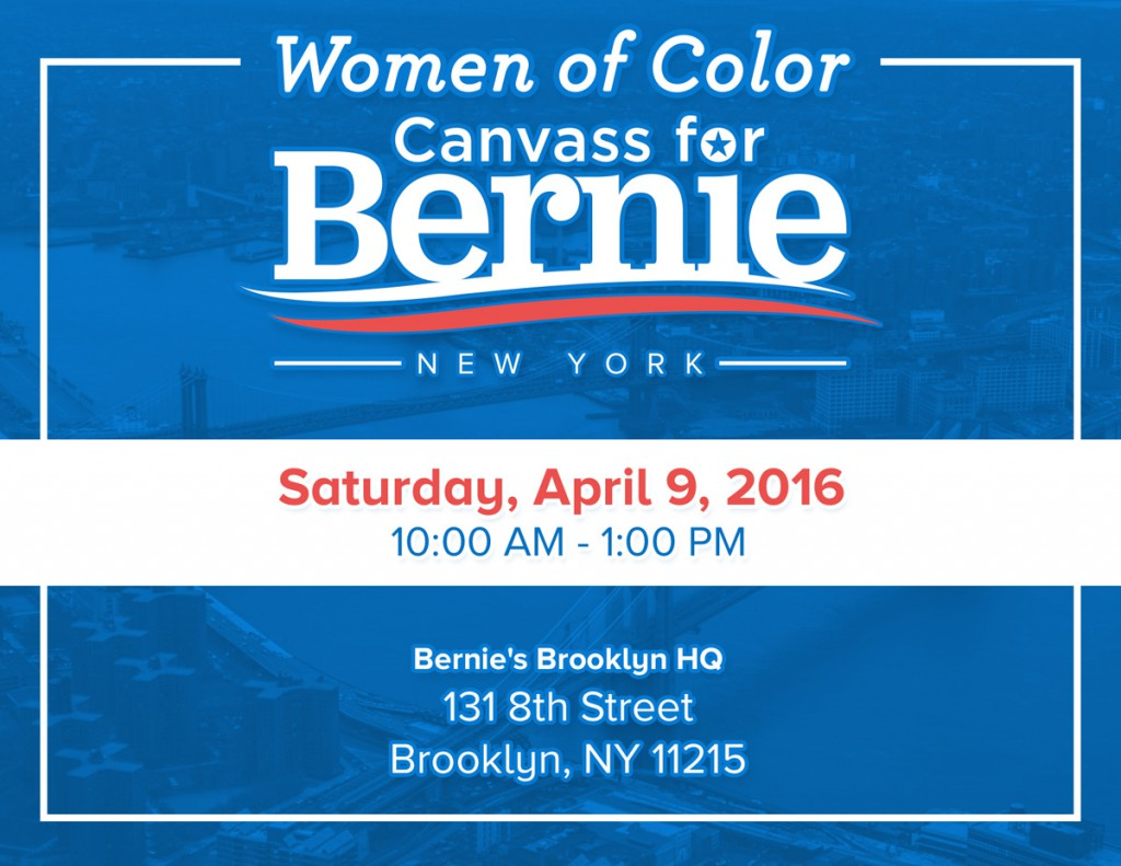 Women of Color Canvass for Bernie Flyer